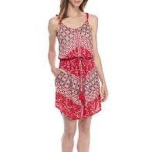 Lucky Brand Nora Twist Strap Red Mini Shift Dress